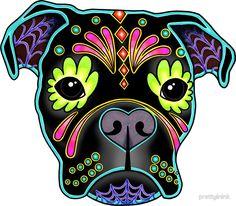 Boxer in Black- Day of the Dead Sugar Skull Dog