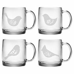 """Set of 4 glass mugs with sand-etched bird motifs. Made in the USA.    Product: 4-Piece mug setConstruction Material: GlassColor: ClearFeatures:  Hand-etched decoration into the glass surfaceMade in the USADimensions: 3.75"""" H x 3.25"""" Diameter eachCleaning and Care: Dishwasher safe"""