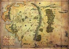 Hobbit - karta över Midgård poster / affischer