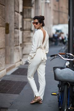 all white w/ a backless top. so, so clean, modern and chic! <3! #spring2013