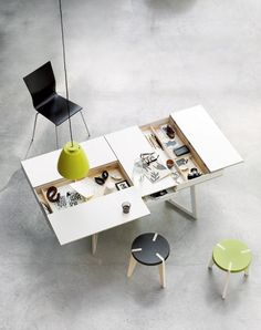 Office, Unbilieveable Design Of Hidden Compartment Desk Wooden Style Color With Black Chair Green Circle Chair Also Chandelier And Natural Marble Floor: Inspirational Home Office Desks