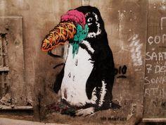 Penguin  #nomorelies #istanbulsokak #duvarlaraozgurluk #istanbulstreetart #sokaksanatı #streetart #graffiti #stencil #wallart #mural #sticker #streetwriting #urban #urbanart #istanbul #beyoglu #kadikoy #besiktas #turkiye #art #icecream