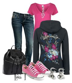 """""""Converse"""" by lkthompson ❤ liked on Polyvore featuring Rock Revival, Bench, Longchamp, Ethletic, White House Black Market, Blue Nile, music, converse and hoodie"""