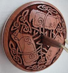 "Golding ""Celtic Sheep"" spindle:  2 3/4"" Laser Engraved Cherry whorl by the  Holy Nativity Convent. Brookline, MA,  Inlaid Bronze Alloy Ring, 1.5 oz, $97 (I really do want one of these one day)"