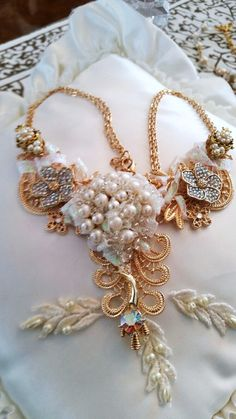 OOAK Bridal Statement Necklace, by Passion4Retro on Etsy