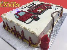 Fun little fire truck cake for Rowan's Bday 🔥 Fire Engine Cake, Truck Cakes, Sheet Cakes, Rowan, Fire Trucks, Desserts, Fun, Tailgate Desserts, Deserts