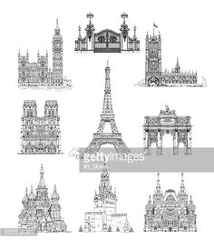 Stock Illustration : Famous buildings of Euripe, sketch collection. Paris, Moscow, London