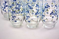 Vintage large glasses / blue flowers / Veronica pattern from Arcopal.