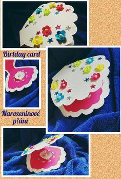 Přání k narozeninám pro malou slečnu ve tvaru mušle. #mořská panna #mušle #narozeniny #vyrobenoručně #květina #hvězda #perla  Birthady card for little girl in the shape of a shell. #mermaid #shell #birthday #homemade #dyi #flower #star #pearl