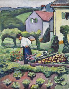 August Macke (Germany - Frau im Garten (Woman in the Garden) 1911 August Macke, Franz Marc, Wassily Kandinsky, Garden Painting, Garden Art, Illustrations, Illustration Art, Cavalier Bleu, Lawrence Lee