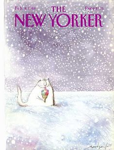 The New Yorker Cover ~ February 8, 1988.  A Cat Enjoys His Ice Cream Cone, Ronald Searles