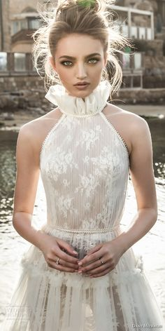dany mizrachi 2018 bridal sleeveless halter neckline full embellishment vintage romantic a  line wedding dress (8) zv -- Dany Mizrachi 2018 Wedding Dresses Bohemian Wedding Dresses, Wedding Dresses 2018, Bridal Dresses, Bridesmaid Dresses, Dress Code, Bridal Stores, Bed Sets, Vintage Bridal, Sweet Dress