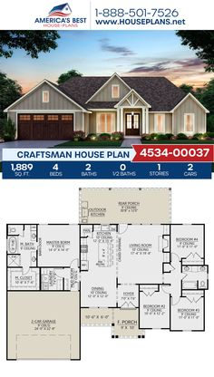 4 Bedroom House Plans, Family House Plans, Ranch House Plans, Craftsman House Plans, Dream House Plans, Small House Plans, Dream Houses, House Plans With Garage, Cool House Plans