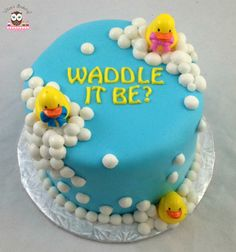 waddle it be cake, gender reveal cake, duck baby shower cake