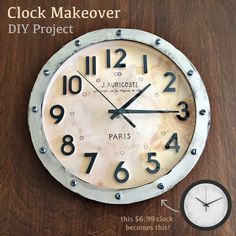 Diy map clock ikea hack two dollar clock gets a map makeover clock makeover inspiredy by restoration hardware using a plain white clock gumiabroncs Images