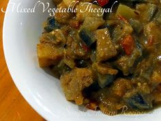 Mixed Vegetable Theeyal or Kootu Theeyal is a traditional dish from Kerala where a combination of vegetables are cooked in a gravy made with tamarind and roasted coconut. Tamarind Juice, Dried Chillies, Easy Indian Recipes, Vegetarian Side Dishes, Red Chili Powder, Mixed Vegetables, Curry Leaves, Cooking Time, Stuffed Peppers