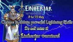 Tokyo, Japan – 8 May 2013 – Appirits, the Japanese developer of their English turn-based browser game Einherjar – The Viking's Blood has recently announced a brand new event… English Turn, Viking S, Online Games, Lightning, Japanese, Treats, News, Sweet Like Candy, Goodies