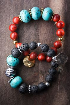 Indi's turquoise bracelet and black Lava ethnic by MartaDissenys