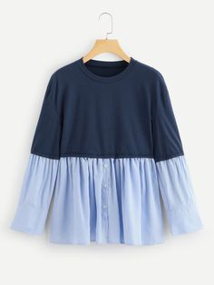 Casual Regular Fit Round Neck Long Sleeve Pullovers Blue Regular Length Contrast Hem 2 In 1 Tee - Womens clothing blouse summer blouse style blouse ideas Frock Fashion, Fashion Dresses, 50 Fashion, Fashion Styles, Cute Casual Outfits, Pretty Outfits, Girls Fashion Clothes, Clothes For Women, Teen Girl Fashion
