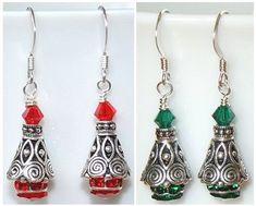 Exquisito plata y Swarovski Siam rojo, verde esmeralda o pendientes de Cystal clara árbol de Navidad - únicos!