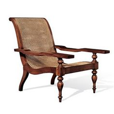 British Colonial Plantation Chair, Cane Sides And Solid Wood
