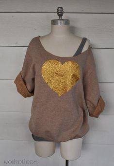 WobiSobi: Gold, Glitter Heart, Sweatshirt