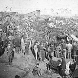 Union prisoners draw rations at Camp Sumter, also known as Andersonville Prison, 17 August 1864