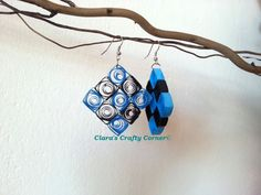 Quilled earrings  BIG Blue Checkered by claracrafty on Etsy, $18.00