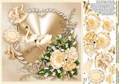 Wedding And Anniversary Swans Decoupage -8in X 8in Decoupage