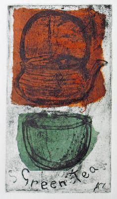 'Green Tea' etching with chine colle by Rosemary Eagle Collagraph Printmaking, Grafic Art, Linoleum Block Printing, Knit Art, Australian Artists, Art Plastique, Woodblock Print, Print Artist, 25 September