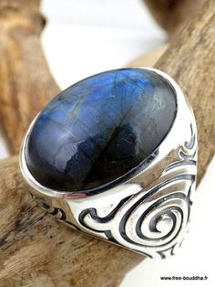 BAGUE HOMME LABRADORITE bijou pierre naturelle par EveilOriental