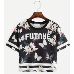 SheIn(sheinside) Black Flower and Butterfly Print Varsity T-shirt (11 CAD) ❤ liked on Polyvore featuring tops, t-shirts, black, graphic tees, short sleeve t shirt, sport tee, sports t shirts and floral tee