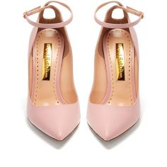 Rupert Sanderson Balance point-toe leather pumps (1540 TND) ❤ liked on Polyvore featuring shoes, pumps, pointed-toe pumps, pointed toe stilettos, pink pumps, pink leather pumps and pink shoes