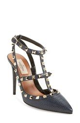 Valentino 'Rockstud' T-Strap Pointy Toe Pump (Women)