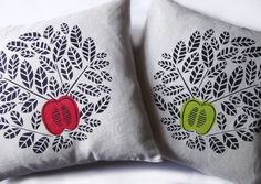 An apple a day cushion, red