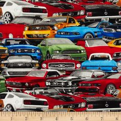 Ford Mustang Packed Cars Multi from @fabricdotcom  From Fabrique Innovations, this licensed print is perfect for quilting, apparel and home decor accents.  Colors include black, white, grey, red, yellow, orange, blue and green.