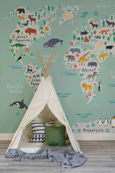 Venture around the globe with this beautiful map mural. An illustrative map decorated with charming animals in their native continents is a lovely way to introduce the world to your little one. Set against a wonderfully refreshing mint green, it's a versa Playroom Design, Playroom Colors, Nursery Design, Wall Colors, Nursery Inspiration, Color Inspiration, Baby Room Decor, Baby Playroom, Baby Boy Bedroom Ideas