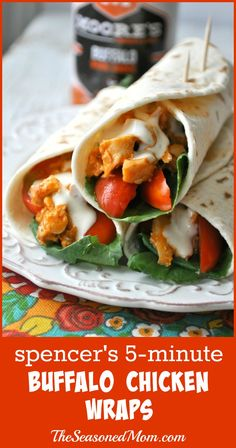 Spencer's 5-Minute Buffalo Chicken Wraps - The Seasoned Mom