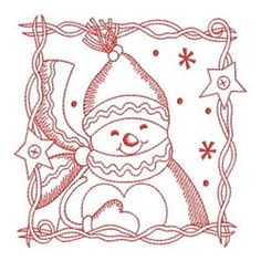 Ace Points Embroidery Design Pack: Redwork Let It Snow 2 Embroidery Cards, Cross Stitch Embroidery, Hand Embroidery, Handmade Christmas Gifts, Christmas Crafts, Christmas Snowman, Christmas Stuff, Christmas Ideas, Merry Christmas