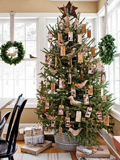 Christmas Trees Decorated with brown paper tags and doves - rusticly pretty