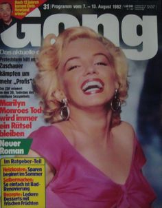 "Gong - July 30th 1982, magazine from Germany. Front cover publicity photo of Marilyn Monroe for ""Niagara"" by Bruno Bernard, 1952."