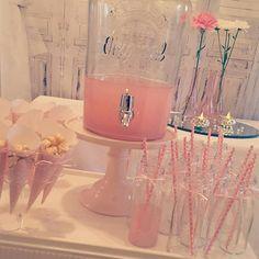 Drinks dispenser. Mini milk bottles with straws. Popcorn cones  Confetti and…