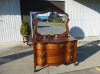 Antiques By Design - Serpentine Front Victorian tiger Oak Dresser Oak Dresser, Bedroom Dressers, Painting Furniture, Vintage Furniture, Victorian, Antiques, Design, Home Decor, Antiquities