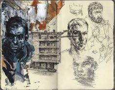 Sketch Book Red moleskine by Filip Peraić, via Behance - A Level Art Sketchbook, Sketchbook Layout, Sketchbook Drawings, Art Sketches, Art Drawings, Fashion Sketchbook, Sketchbook Ideas, Moleskine Sketchbook, Kunstjournal Inspiration