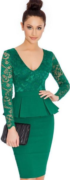 Beautiful Long Sleeve Scoop Lace Short Bodycon Dress - Oh Yours Fashion - 2