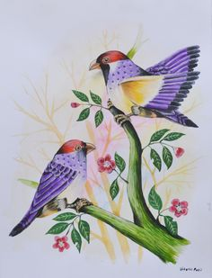 Invest in this #painting of lovebirds to make your space a happier place to be. The paintings of #lovebirds are said to bring good luck and increase love between the couple. #birdspainting #watercolorart