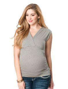 Cap Sleeve Deep V-neck Maternity T Shirt