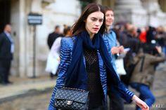 sheer top x statement blazer x Chanel bag #PFW