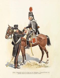 French; Hussards Noir du Nord(or de Jemmapes), Sous-officier, Petite Tenue & Hussar, Grande Tenue 1796 by Rene Louis