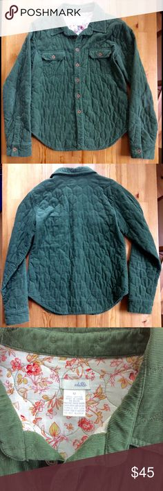 Anthropologie Odille Quilted Corduroy Jacket Odille for Anthropologie made an amazing and adorable 100% Cotton top quilted green corduroy jacket. Size 12. Arm pit to arm pit:18' Length:28'. Machine wash warm. Tumble Dry low. EUC. Anthropologie Jackets & Coats